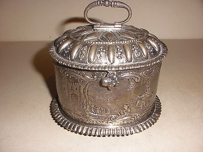 Great Antique Dutch silver tea caddy Jac van Straten Hoorn with figures scene