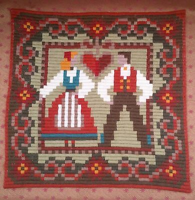 Vintage Swedish Hand Embroidered Wool Work Tapestry For Cushion Front Or Wall