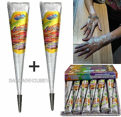 IMPORTED SILVER GLITTER Sparkly Body Art Glitter Gel Cone/ Henna Tattoo Decorate