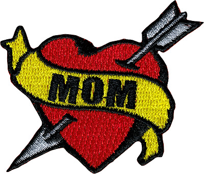 6277 Mom Heart Banner Arrow Tattoo Mother Momma Love Embroidered Iron On Patch