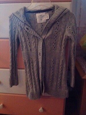 Girls H&m Grey Long Sleeve Hooded Cardigan Size 6-8