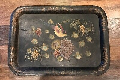 Large Vintage - Black Toleware Tray Bird/ Nest Fruit Hand painted. 30x22
