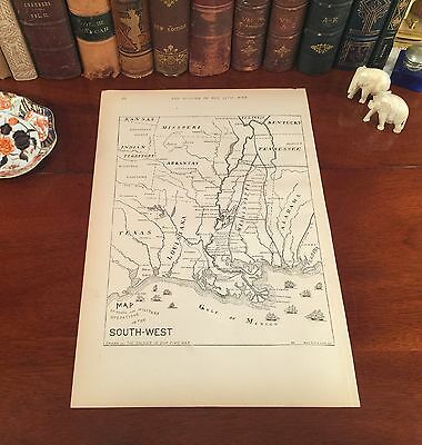 Original 1884  Engraved Antique Civil War Map TEXAS Louisiana INDIAN TERRITORY