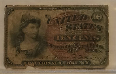 United States 10 cents Fractional Currency American Bank Note Co 1863 ~Civil War