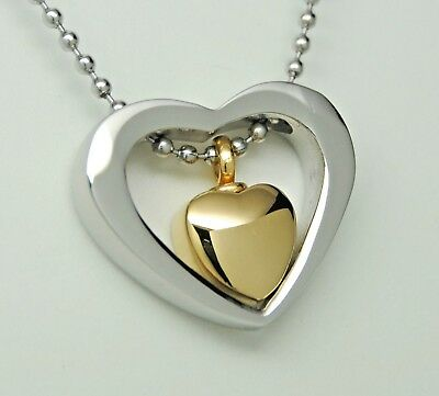 Silver Gold Heart Urn Necklace Cremation Jewelry Memorial Keepsake Urn Pendant
