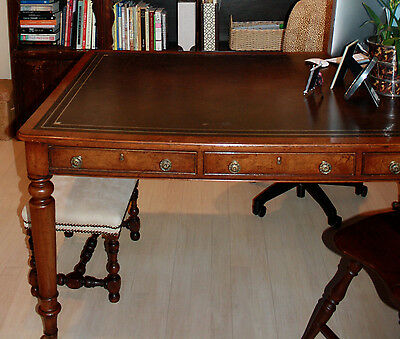 English partners desk with two working sides, six drawers and leather top