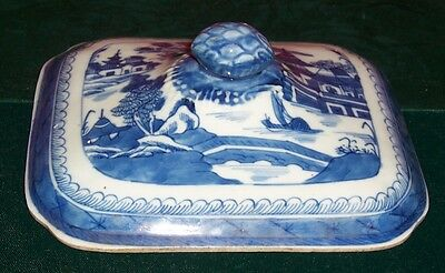 Vintage 19th Century Chinese Canton 1 Blue & White Cover