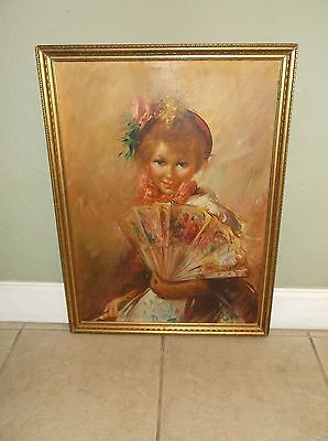 "Vintage Portrait Of A Lady With Fan Oil On Canvas Signed ""a. Moreno"""