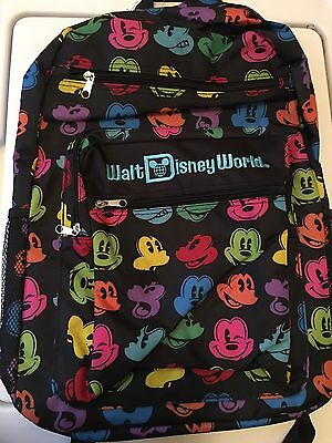 Walt Disney World Backpack Rainbow Mickey Mouse Faces Authentic Theme Parks NWT