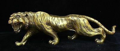 Chinese Fengshui Bronze Brass Ferocious Animal Zodiac Year Lucky Tiger Statue