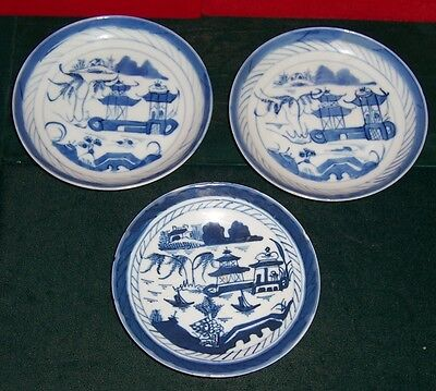 Vintage Chinese Canton 3 Blue & White Small Plates