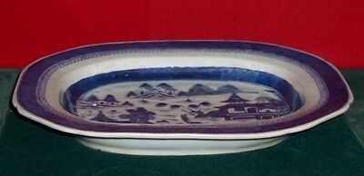 Vintage 19th Century Chinese Canton Large Deep Well Plate Blue & White