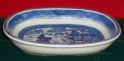 Vintage 19th Century Chinese Canton Vegetable Bowl Blue & White