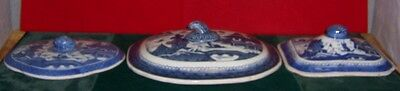 Vintage 19th Century Chinese Canton 3 Blue & White Large Covers