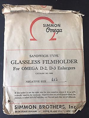 Simmon Omega  Enlarger Glassless Film Holder D2 D3 4 x 5