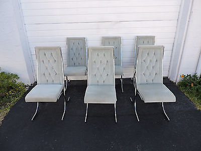 Set of Six Mid Century Hollywood Regency Chrome Dining Chairs by Howell 7743