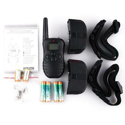 LCD Display 2 Dog Shock Vibration Remote Pet Training Collar for 10lb-130lb OUR#