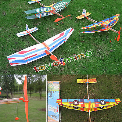 Kid Education Toy Rubber Band Powered Glider Biplane Assemble Aircraft Plane Toy