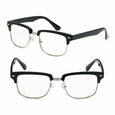 CLUBMASTER Retro Clear Lens Nerd Glasses Mens and Womens Half Metal