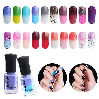 6ML Color Changing Thermal Nail Polish Peel Off Nail Art Varnish Decor 20 Styles
