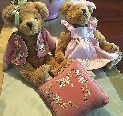 2 x TEDDY BEARS BOY AND GIRL WITH PINK EMBROIDERED CLOTHES BNWT