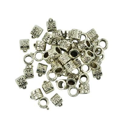50pcs Antique Silver 10 x 7mm Charms Spacer Beads Bail Connectors Pendant