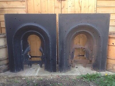 Pair Of Antique Victorian Arched Cast Iron Fireplace Inserts