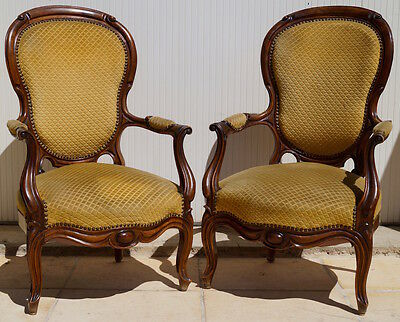 Pair of Antique French Louis XV Armchairs inc Reupholstery (exc. fabric)