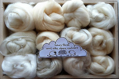 Merino / Silk & Luxury Fibre, Wool roving/ tops / needle felting, fibre art 60g