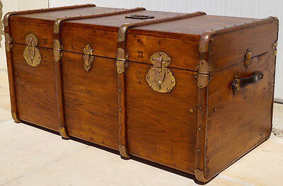 Fabulous Antique French 1920's Steamer Trunk / Coffee Table