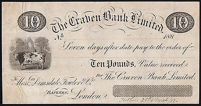 188- CRAVEN BANK £10 PROOF NOTE * 7 DAY SIGHT BILL * gVF *