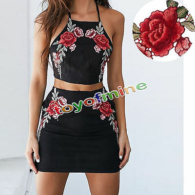 2 x Embroidery Rose Flower Sew On Patch Badge Floral Collar Bust Dress Applique