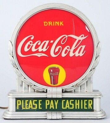 1930's interior light up sign - missing Coca Cola PLEASE PAY CASHIER faces  RARE