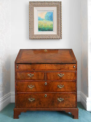 Queen Anne Crossbanded Walnut Bureau, Circa 1720s