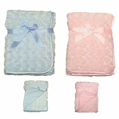 NEW Baby Boys Girls Super Soft Rose Swirl Baby Shawl Blanket Wrap Satin Edged