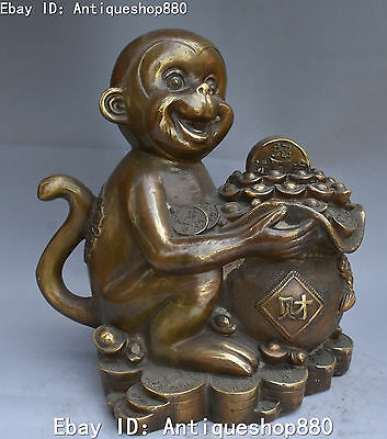 "11"" Marked Chinese Bronze Wealth Yuanbao Money Bag Monkey Monkeys Animal Statue"
