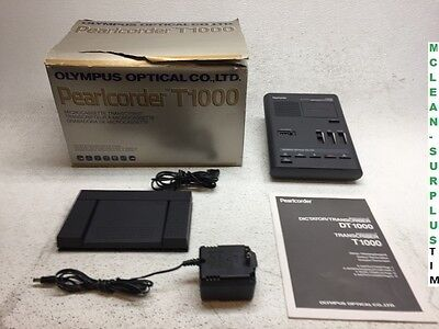 Olympus Optical Pearlcorder T1000 Microcassette Transcriber w/ Foot Pedal RS-19