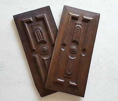 MATCHING PAIR CARVED WOOD PANEL salvaged furniture architectural SMALL