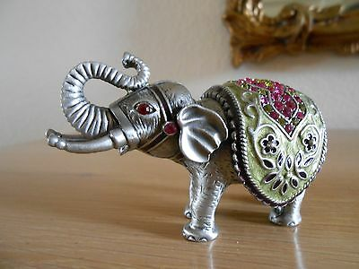 PEWTER ELEPHANT WITH CRYSTALS VINTAGE 1980's FIGURINE RAISED TRUNK GOOD LUCK