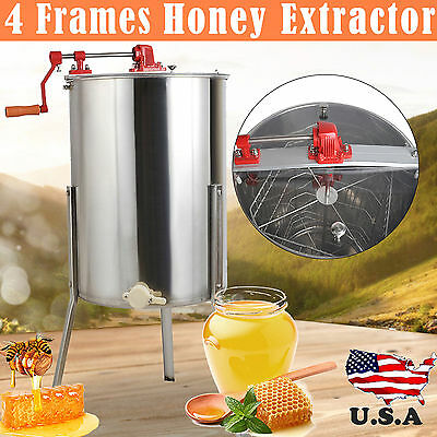 4 Frame Stainless Steel Honey Extractor Centrifuge +Cover Beekeeper Supply Tool