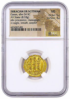 Thracian or Scythian Gold Koson Stater Procession Monogram Eagle NGC MS SKU44457