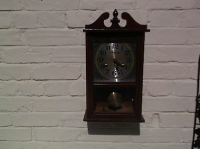 Small Wall Clock 31 Day Mechanical (Wooden) Gongs The Hour And The Half