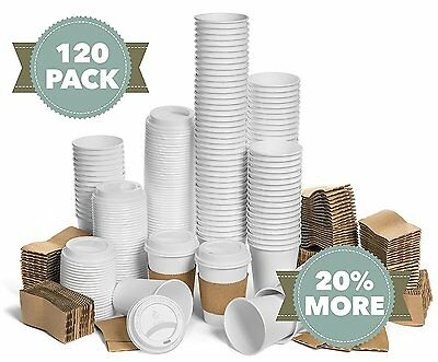 JUMBO Set of 120 Paper Coffee Hot Cups with Travel Lids and Sleeves Disposable -