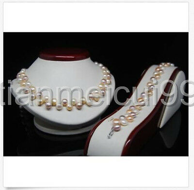Fine 8-9MM Multi_color AAA Oblate Shape pearl jewelry sets