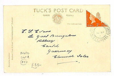 AM84 1941 Channel Islands WW2 GUERNSEY BISECT Postcard Centenary Issue TPO