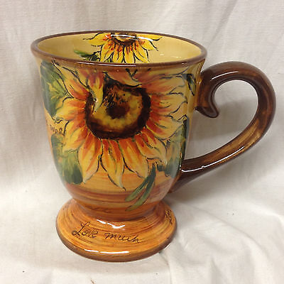 Maxcera Corp Sunflower With Writing Large Footed Mug 18 Oz Yellow & Brown