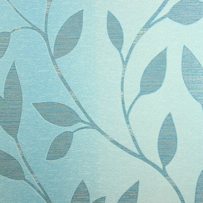 TURQUOISE OMBRE WALLPAPER wallcovering blue leaf textured modern ...