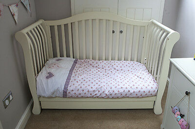 Sleigh Cotbed / Toddler Bed with drawer & mattress