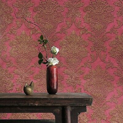 Vinyl Non-Woven Wallpaper silver ivory wallcovering roll textured damask stripes