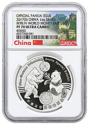 2017 China 1 oz Silver Berlin World Money Fair Panda NGC PF70 UC SKU46181